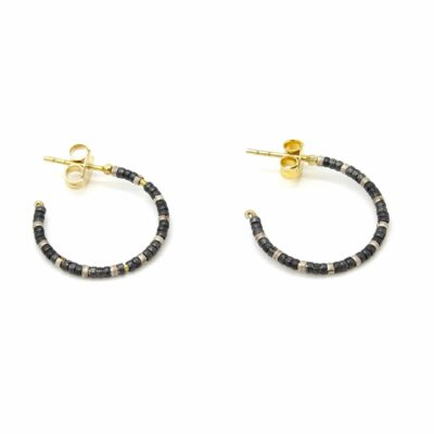 Gold Hoop with Oxidised Silver Beads