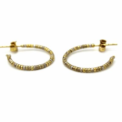 Gold Hoop and Box Cut Beads