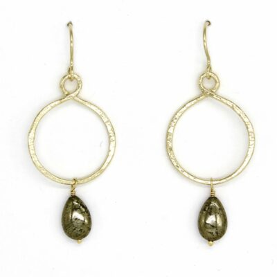 Gold Hoop Drops with Pyrite Drops