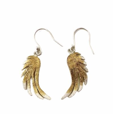 Silver Dangly Feather Earrings with Gold Plating (large)