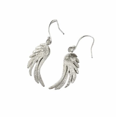 Silver Feather Drop Earrings (Large)