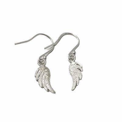 Silver Dangle Angel Wing Earrings (Small)