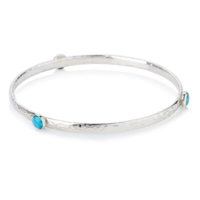 Sterling Silver Opal Bangle set with 4 mm Stones