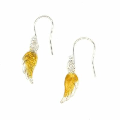 Gold Plate and Silver Angel Wings Drop Earrings