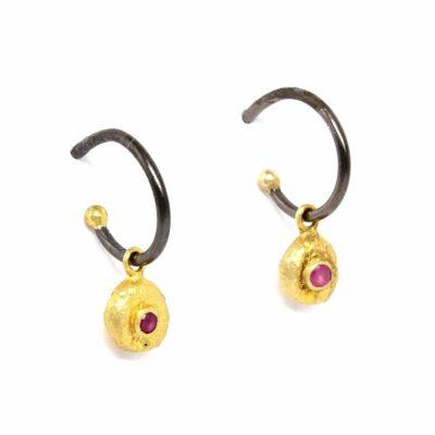 Gold Pink Tourmaline Eye Oxidised Silver Hoops