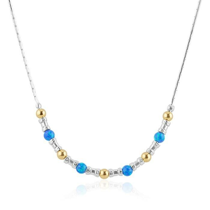 Silver and Gold Dark Blue Opal Necklace