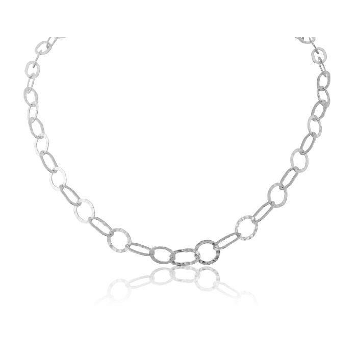 silver interlinking chain necklace