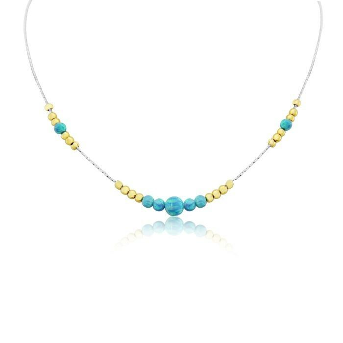 Silver and Gold Aqua Opal Necklace