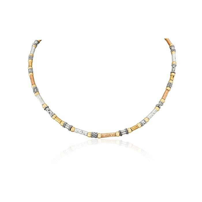 Three Tone Hammered Necklace