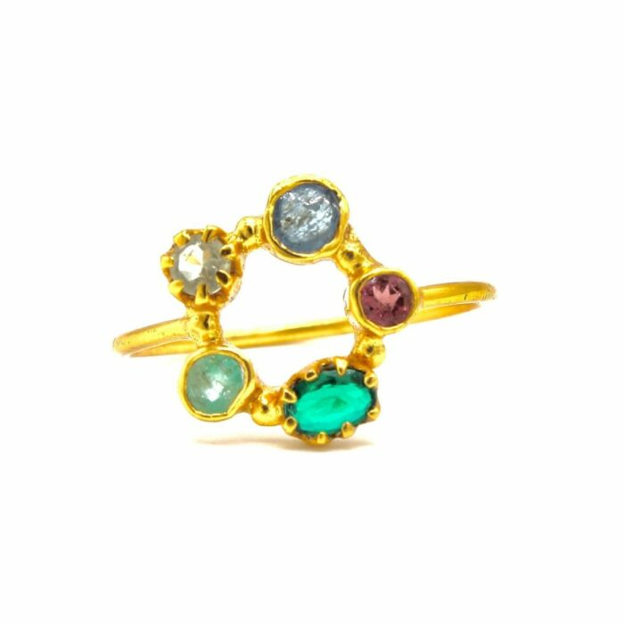 tourmaline gold plated ring