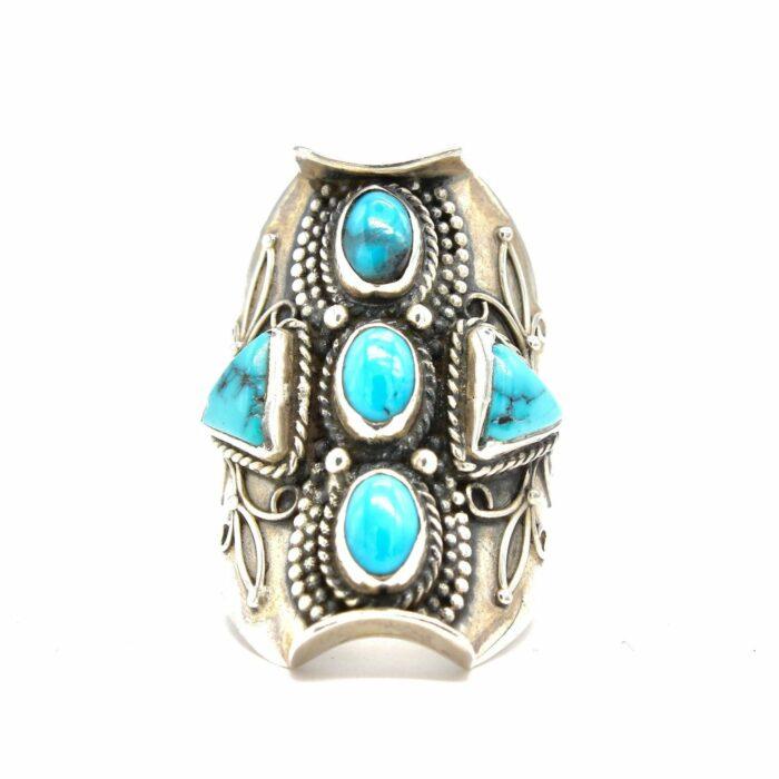 silver statement turquoise gemstone ring
