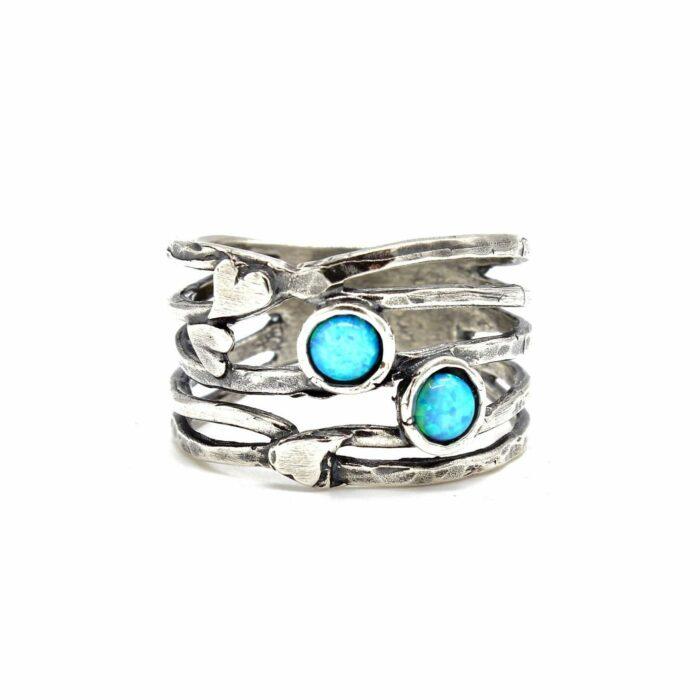 opalite silver love heart ring