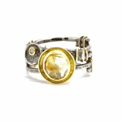 gold oxidised silver diamond ring