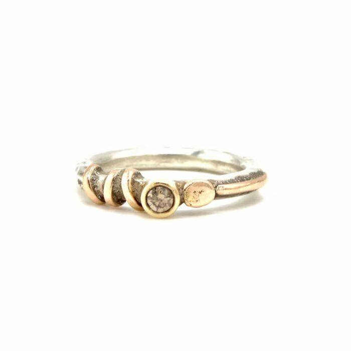 silver rose gold diamond handmade ring