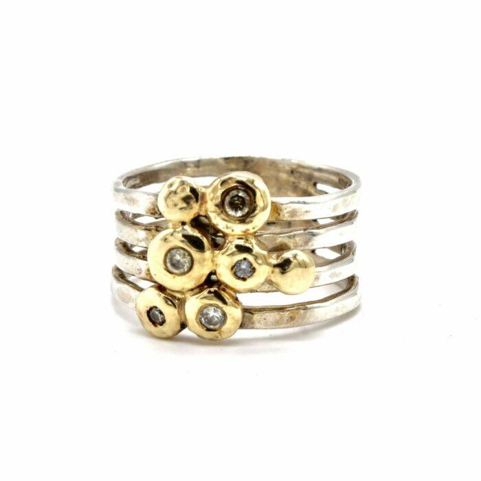 multi band gold diamond ring