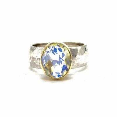 handmade moonstone gold silver large ring