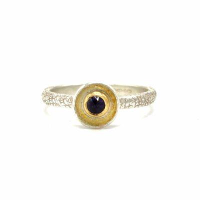 gold-set iolite ring
