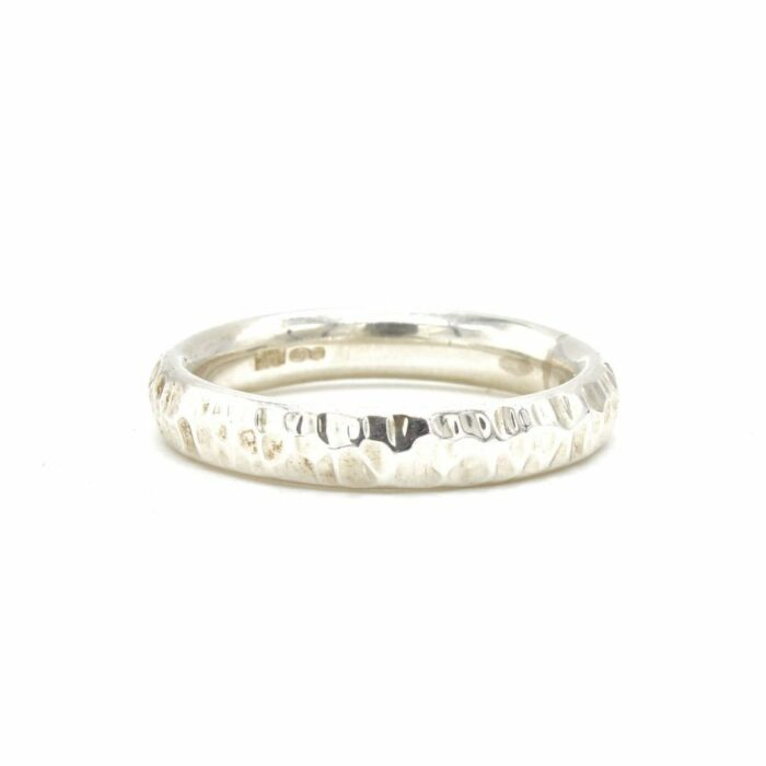 natural textured silver ring
