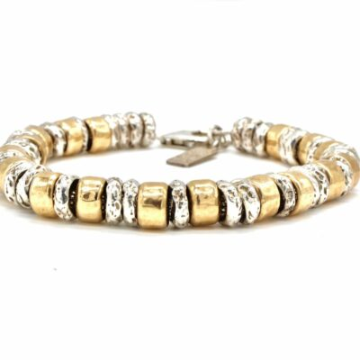 rolled gold and silver chunky bead bracelet