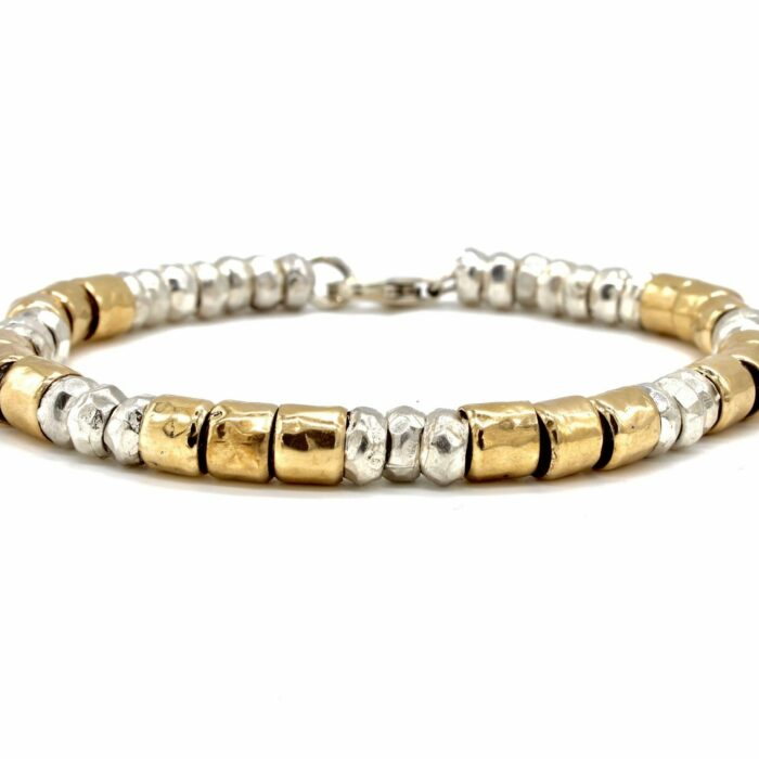 rolled gold and silver bead bracelet