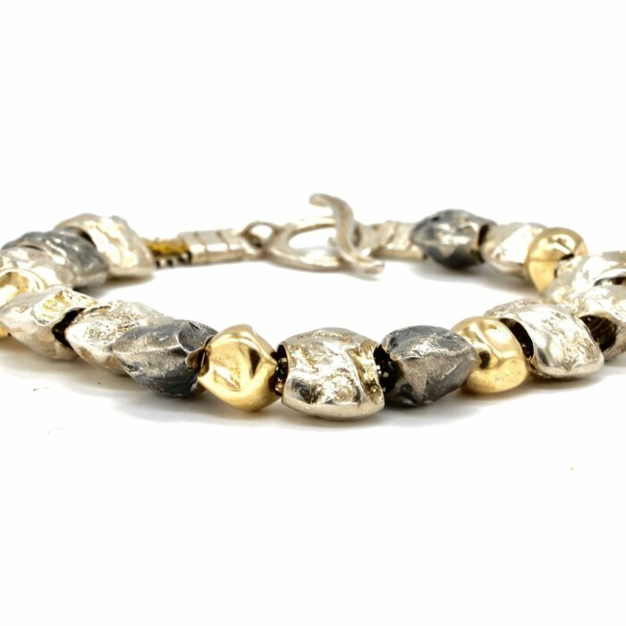 rolled gold and silver nugget bracelet