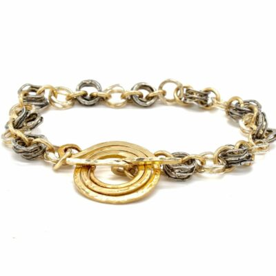 rolled gold and silver chain bracelet