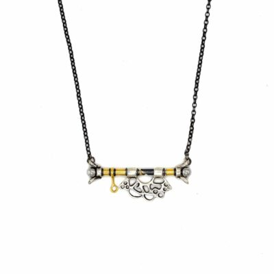 gold and silver abstract necklace