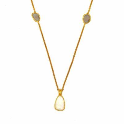 18ct gold opal diamond necklace
