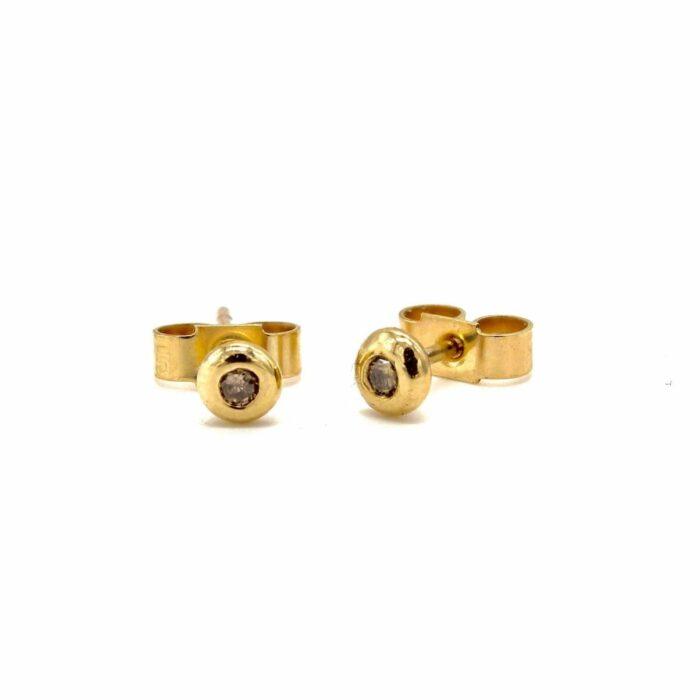 9ct gold champagne diamond studs