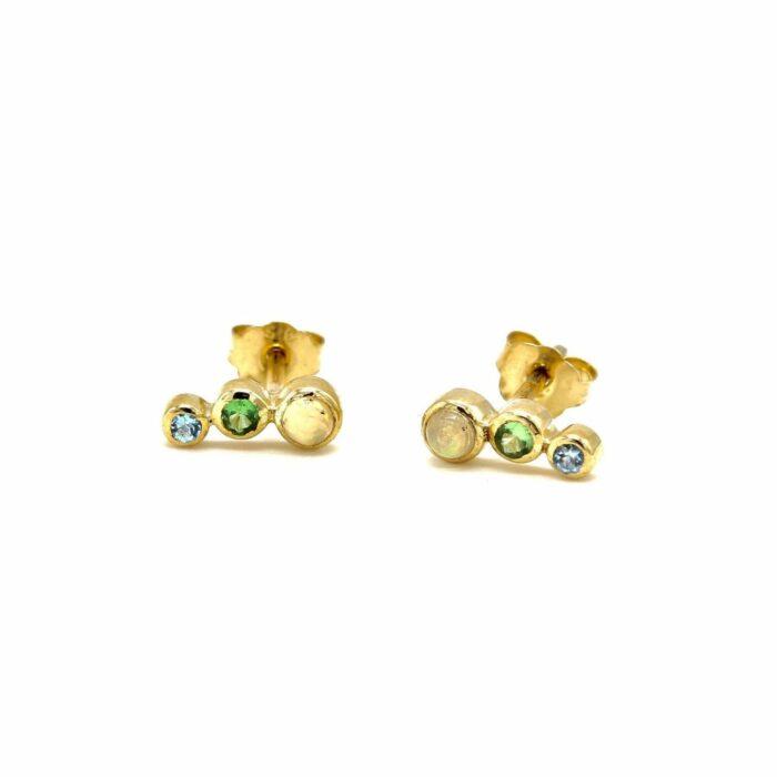 three stone earrings gold opal tsavorite sapphire