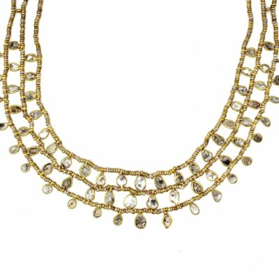 gold plate diamond necklace