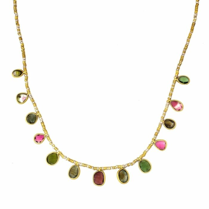 pink and green tourmaline gold necklace