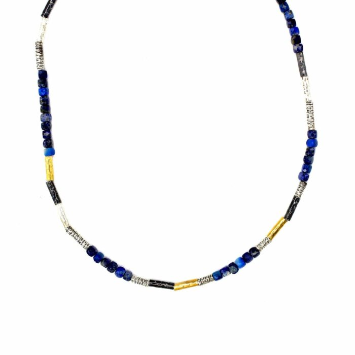 lapis multi tone gold plated necklace