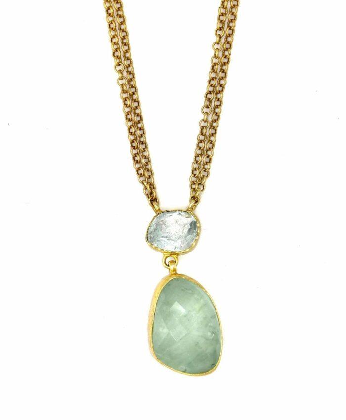 gold aquamarine drop necklace