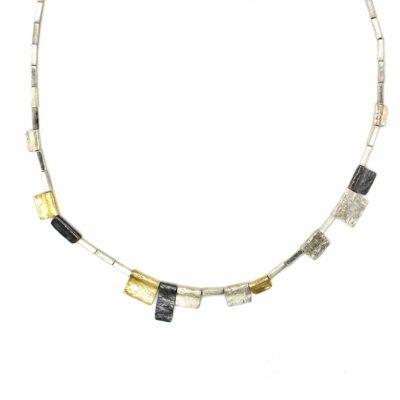 multi-tone geometric bead necklace