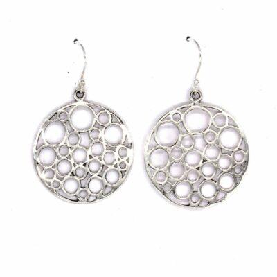 silver disc drop earrings
