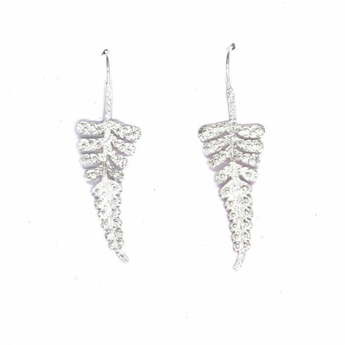 silver fern leaf drop earrings