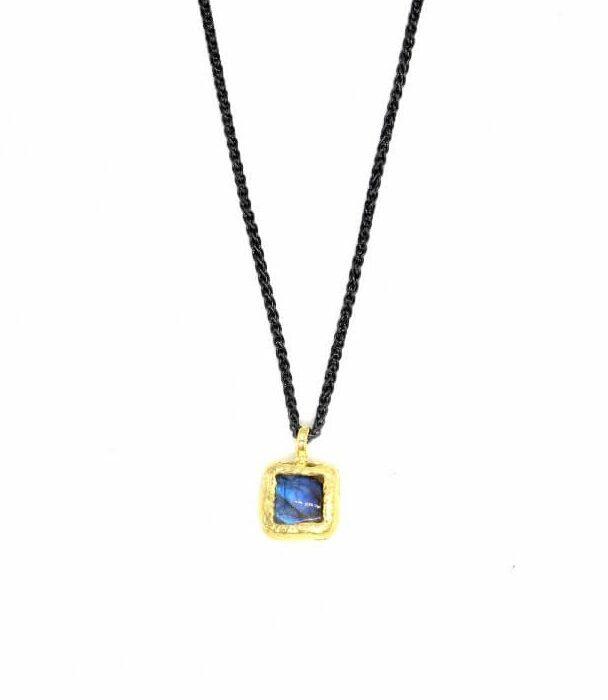 Gold Labradorite Square Necklace