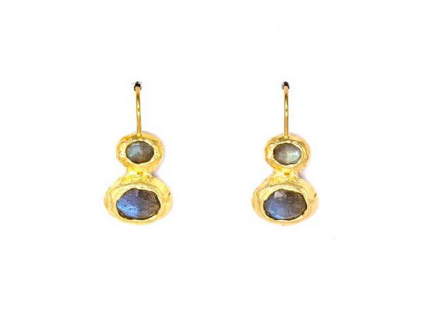 Double Gold Labradorite Earrings