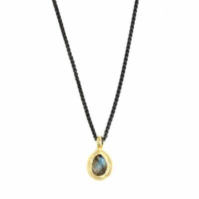 Gold Encased Labradorite Necklace