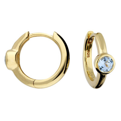 Gold Plated Blue Topaz Huggie Hoops- Armed & Gorgeous
