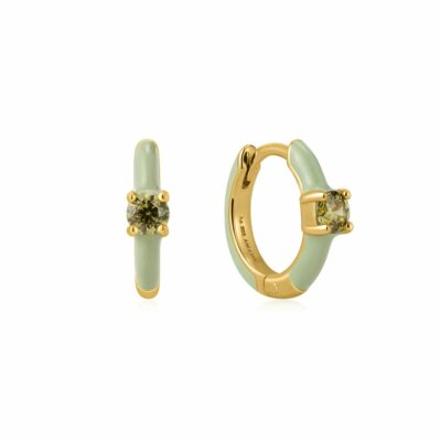 Enamel Gold Plated Huggies (Sage/Blue)-Armed & Gorgeous
