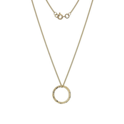 9ct Gold Hammered Circle Necklace- Armed & Gorgeous