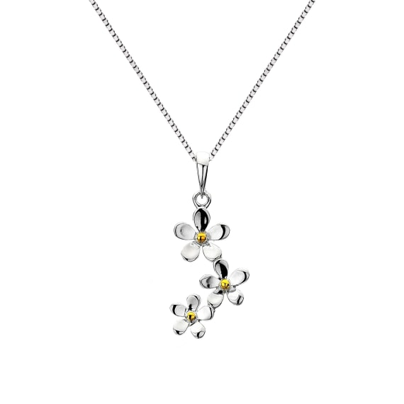 Silver and Gold Plate Triple Daisy Pendant- Armed & Gorgeous