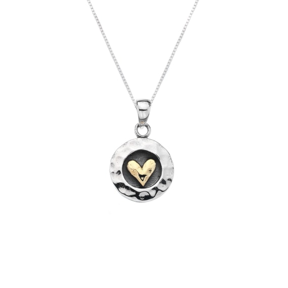 Silver and Gold Plate Heart Pendant- Armed & Gorgeous