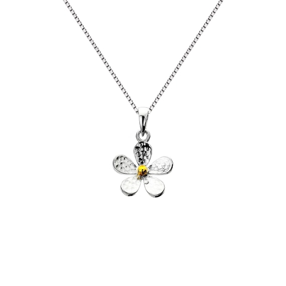Silver and Gold Plate Textured Daisy Pendant- Armed & Gorgeous