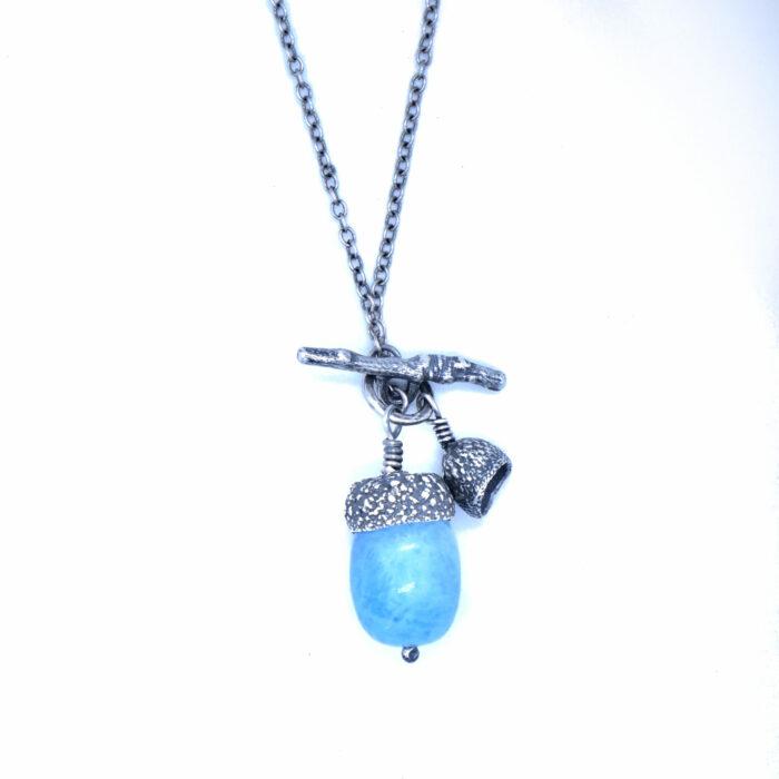 Aquamarine Acorn and Mini Acorn Necklace- Armed & Gorgeous