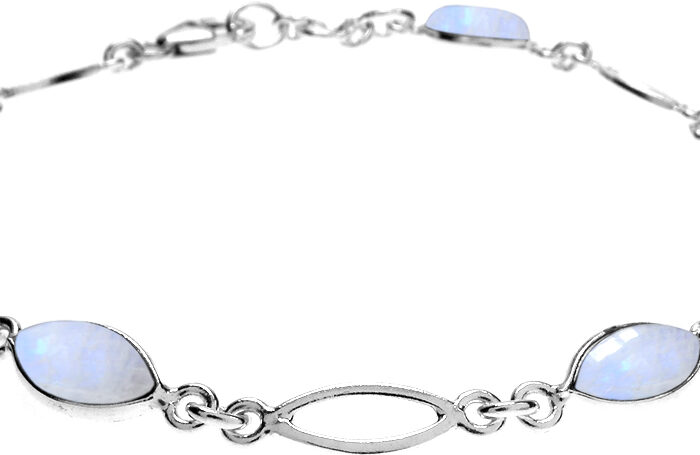 Marquis Rainbow Silver Link Bracelet- Armed & Gorgeous