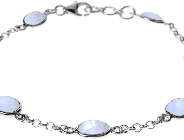 Bezel Chain Rainbow Moonstone Bracelet- Armed & Gorgeous
