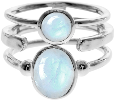 Silver Triple Band Ring With Blue Chalcedony- Armed & Gorgeous